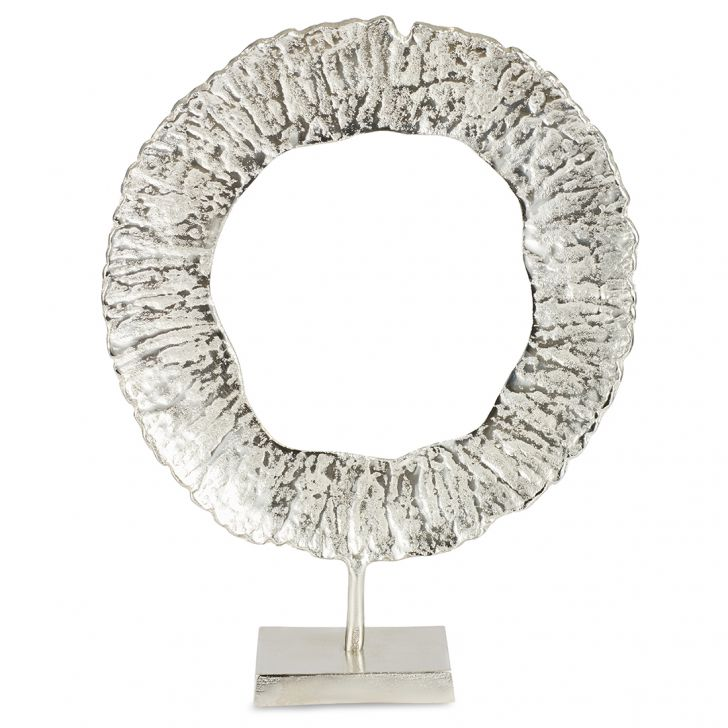 Jashn Silver Round Textured Accent Large Metal Table D in Silver Colour by Living Essence