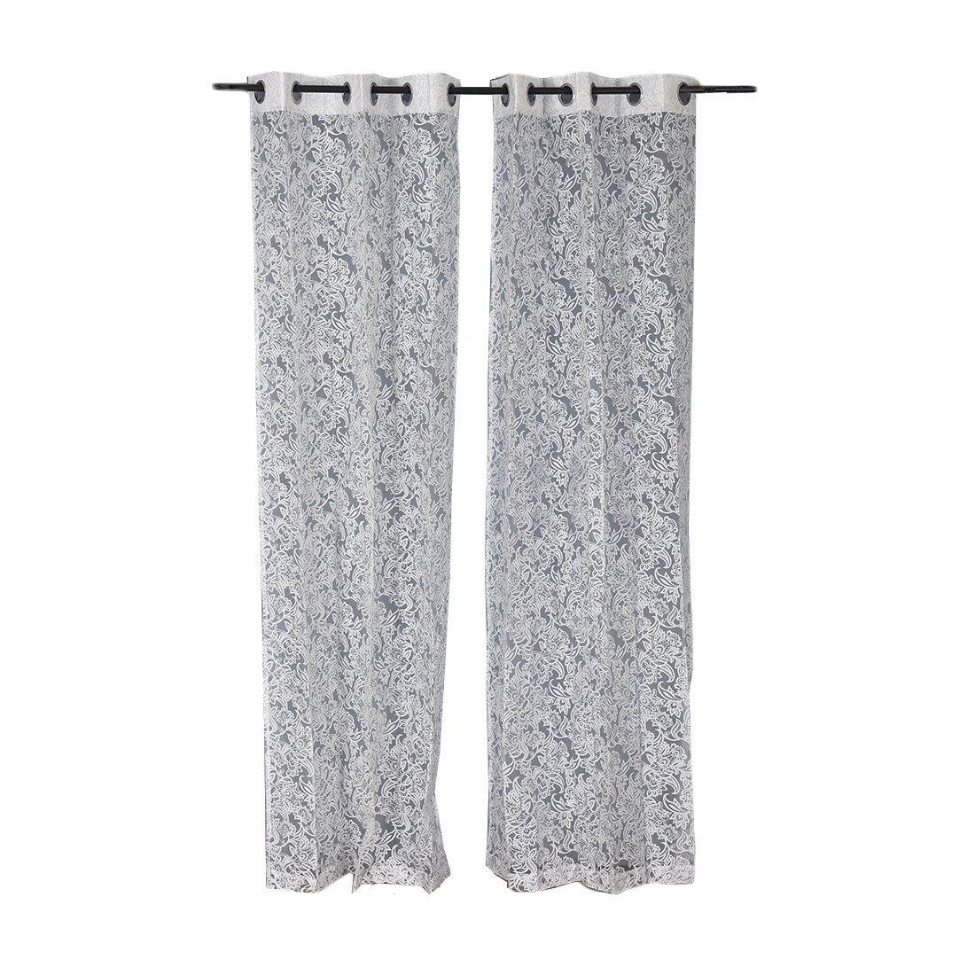 Amour sheer Door Curtain Silver Set of 2 Cotton Polyester Sheer Curtains in Silver Colour by Living Essence