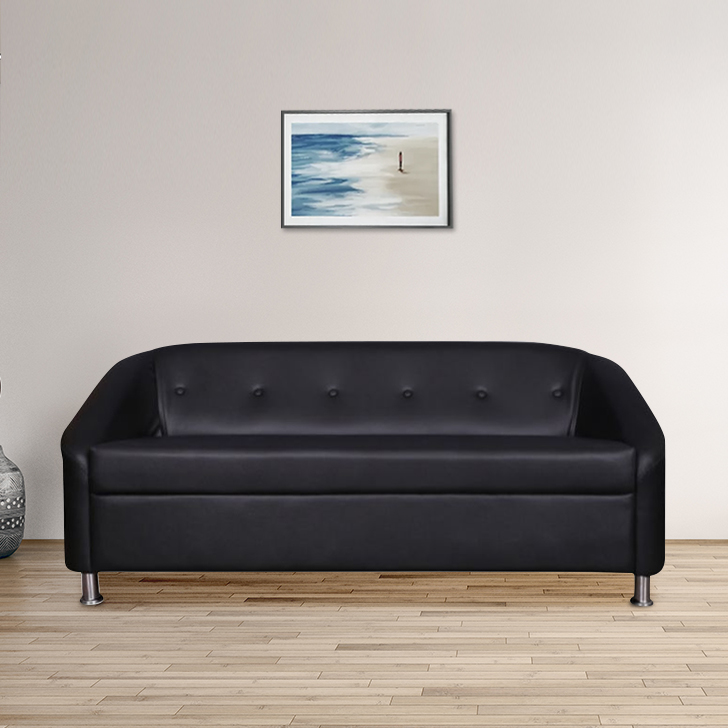 Belfast Fabric & Leatherette Three Seater sofa in Black Colour by HomeTown