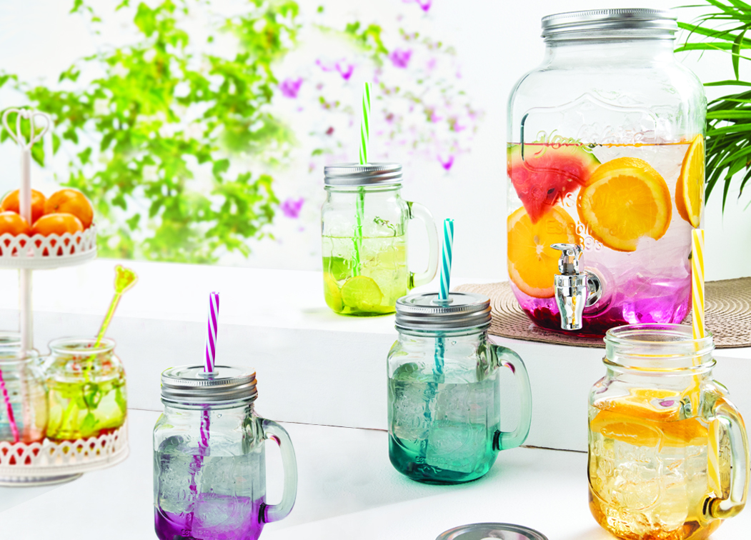 LE Coolers Dispenser&Mason JarsSet of 5 Glass Mason jars in Multicolor Colour by Living Essence