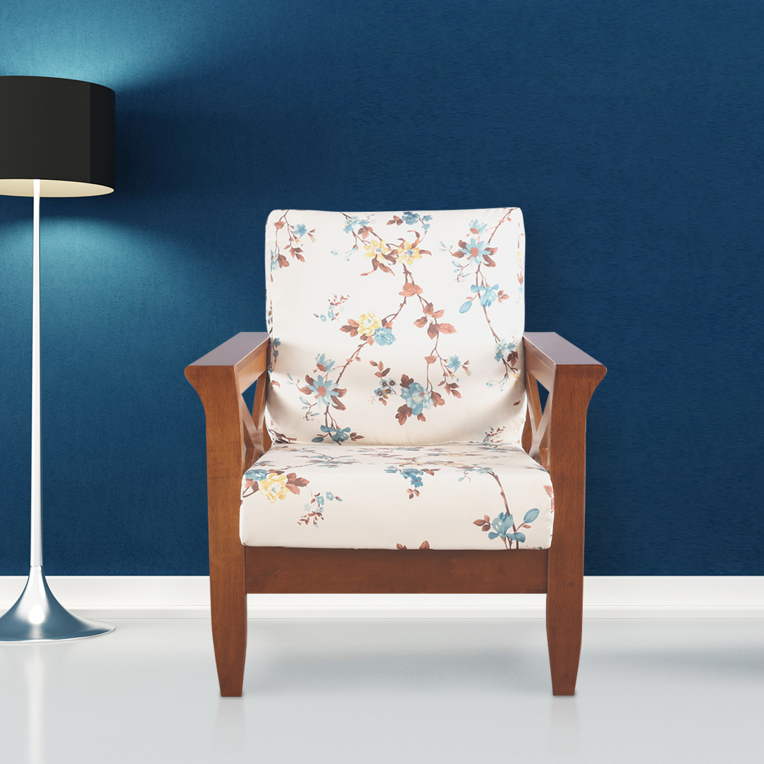 Aldrich Solid Wood Single Seater Sofa With Cushions in Floral Colour by HomeTown