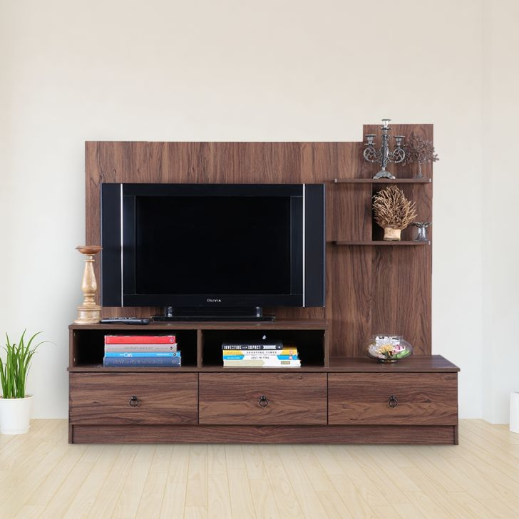 Nicole Engineered Wood TV Unit in Walnut Colour by HomeTown