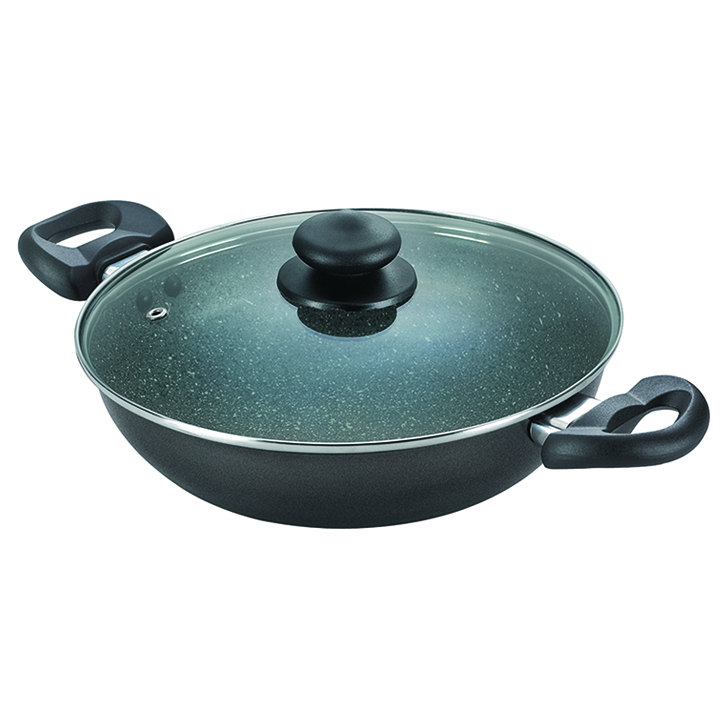 Prestige Omega Deluxe Granite 24 Cm NonStick Kadai With Lid Black Aluminium Kadhai & Wok in Black Colour by Prestige