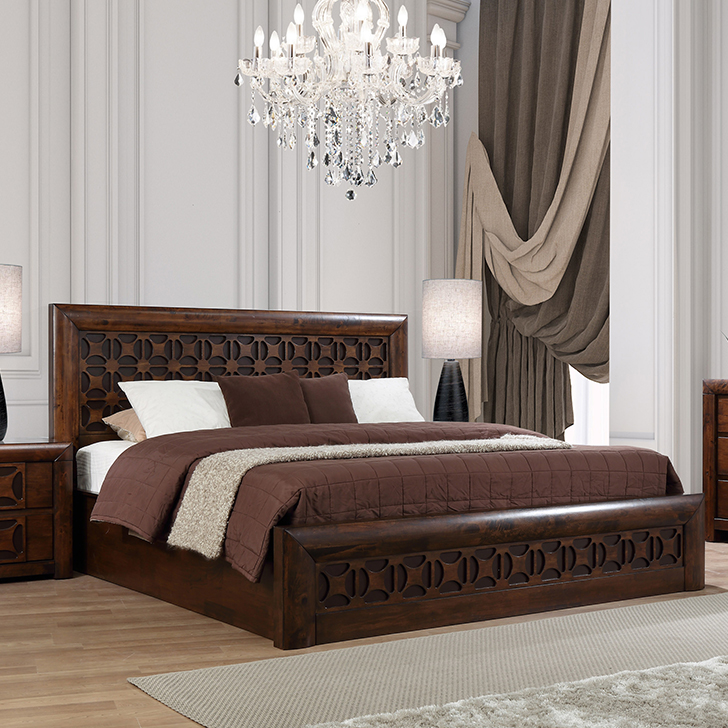 Casablanca Solid Wood Hydraulic Storage Queen Size Bed in Walnut Colour by HomeTown