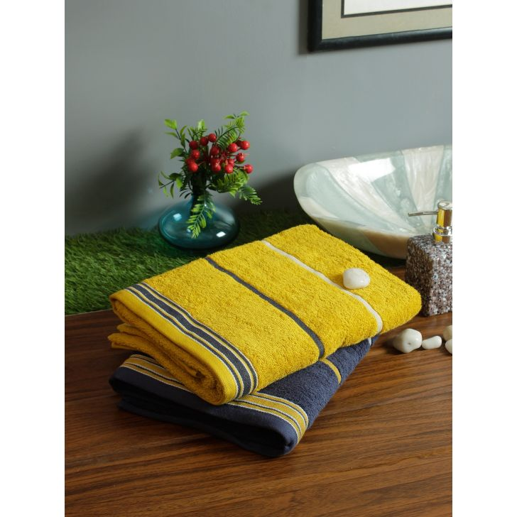 Set of 2 Emilia Cotton Bath Towels in Navy Gold Colour by Living Essence