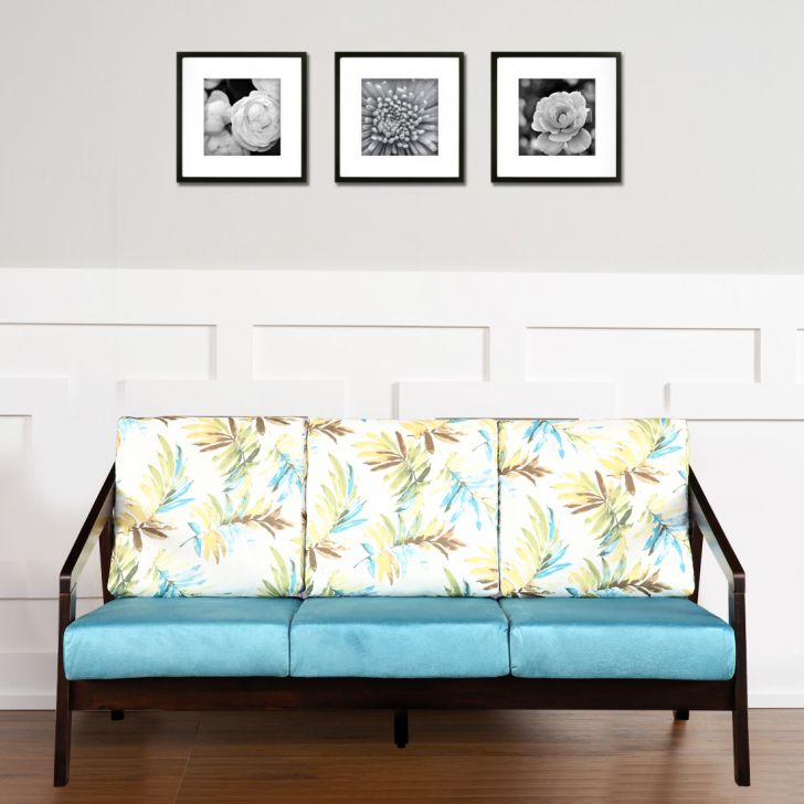 Borris Solid Wood Three Seater Sofa with Cushion in Printed Teal Colour by HomeTown