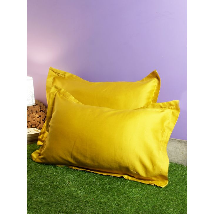 Set of 2 Nora Palette Solid Polyester Pillow Covers in Mustard Colour by Living Essence