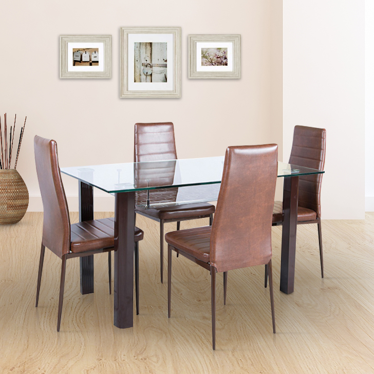 Fiesta Stainless steel Four Seater Dining Set in Brown Colour by HomeTown