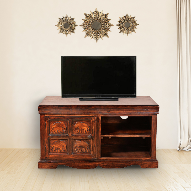 Tuskar Solid Wood TV Unit in Walnut Colour by HomeTown