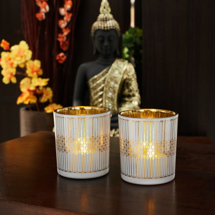 Zahara Set Of 2 Geo Etched Glass Candle Holders in WHITE GOLD Colour by Living Essence