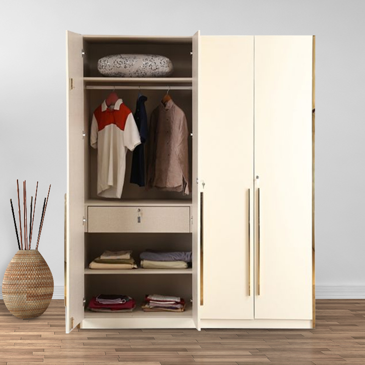 Stellar Engineered Wood Four Door Wardrobe in High Gloss White Colour by HomeTown