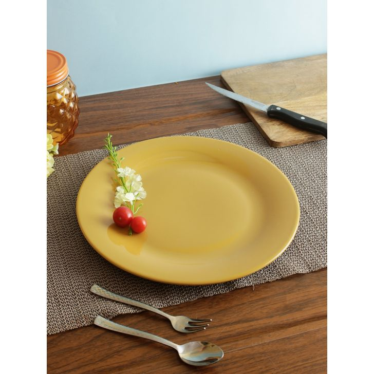 Living essence Ceramic Plate in Mustard Colour by Living Essence