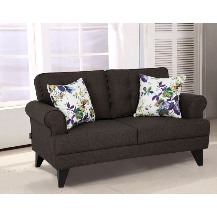 Paddington Fabric Two Seater Sofa in Brown Colour by HomeTown