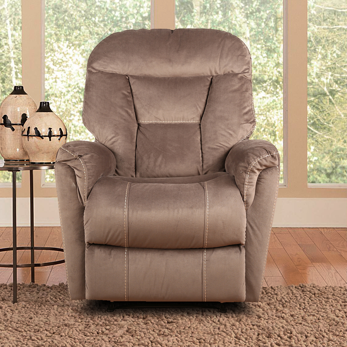 Rubens Fabric Single Seater Recliner in Brown Colour by HomeTown