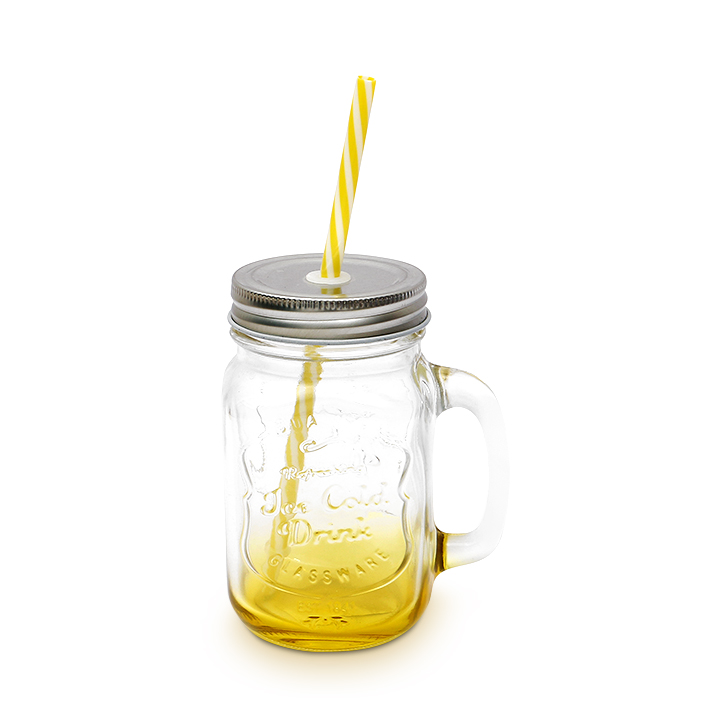 Zes Glass Jar Yellow 450 ml Glass Glass Bottles in Yellow Colour by Living Essence