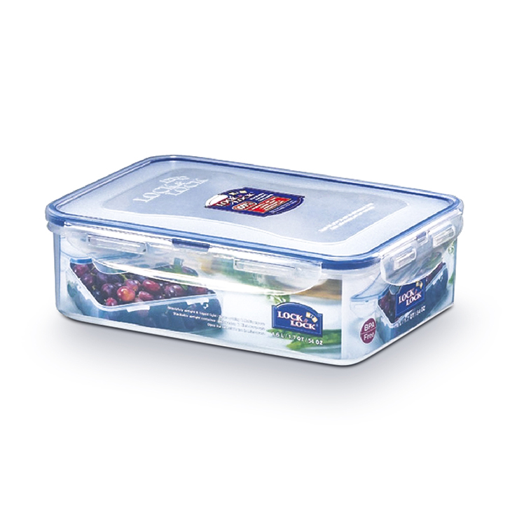 Lock & Lock Classics Rectangular Food Container 1600ml Polypropylene Containers in Transparent Colour by Lock & Lock
