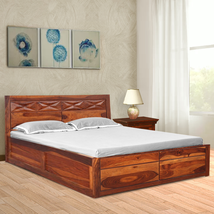 Barcelona Sheesham Wood(Rosewood) Box Storage Queen Size Bed in Honey Colour by HomeTown