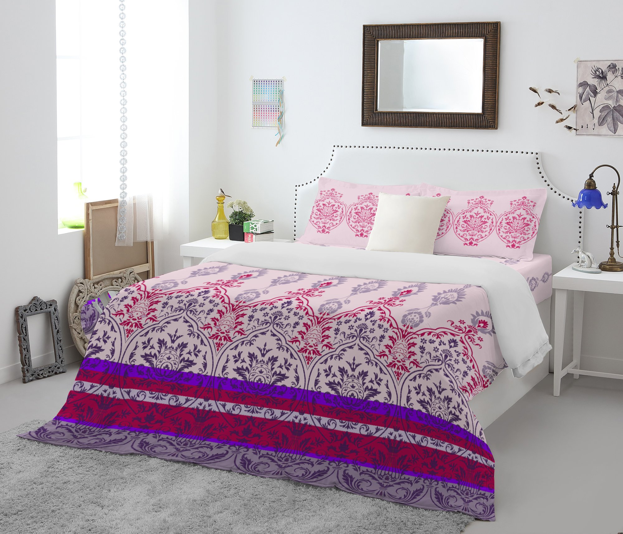 Spaces Atrium Cotton Double Bed Sheets in Purple Colour by Spaces