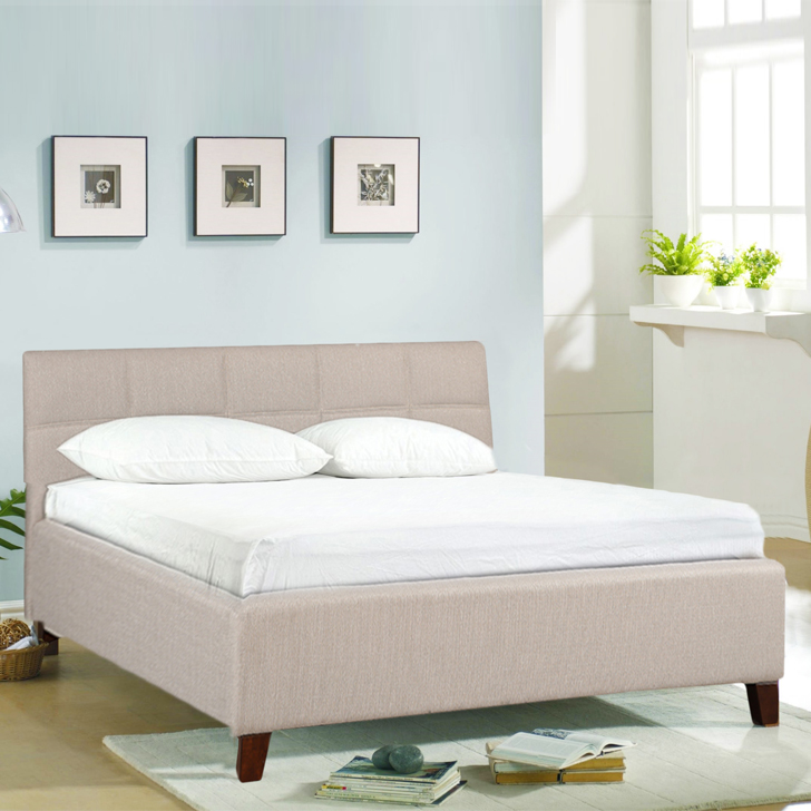 Allen Engineered Wood Fabric Upholstered Queen Size Bed in Taupe Colour by HomeTown