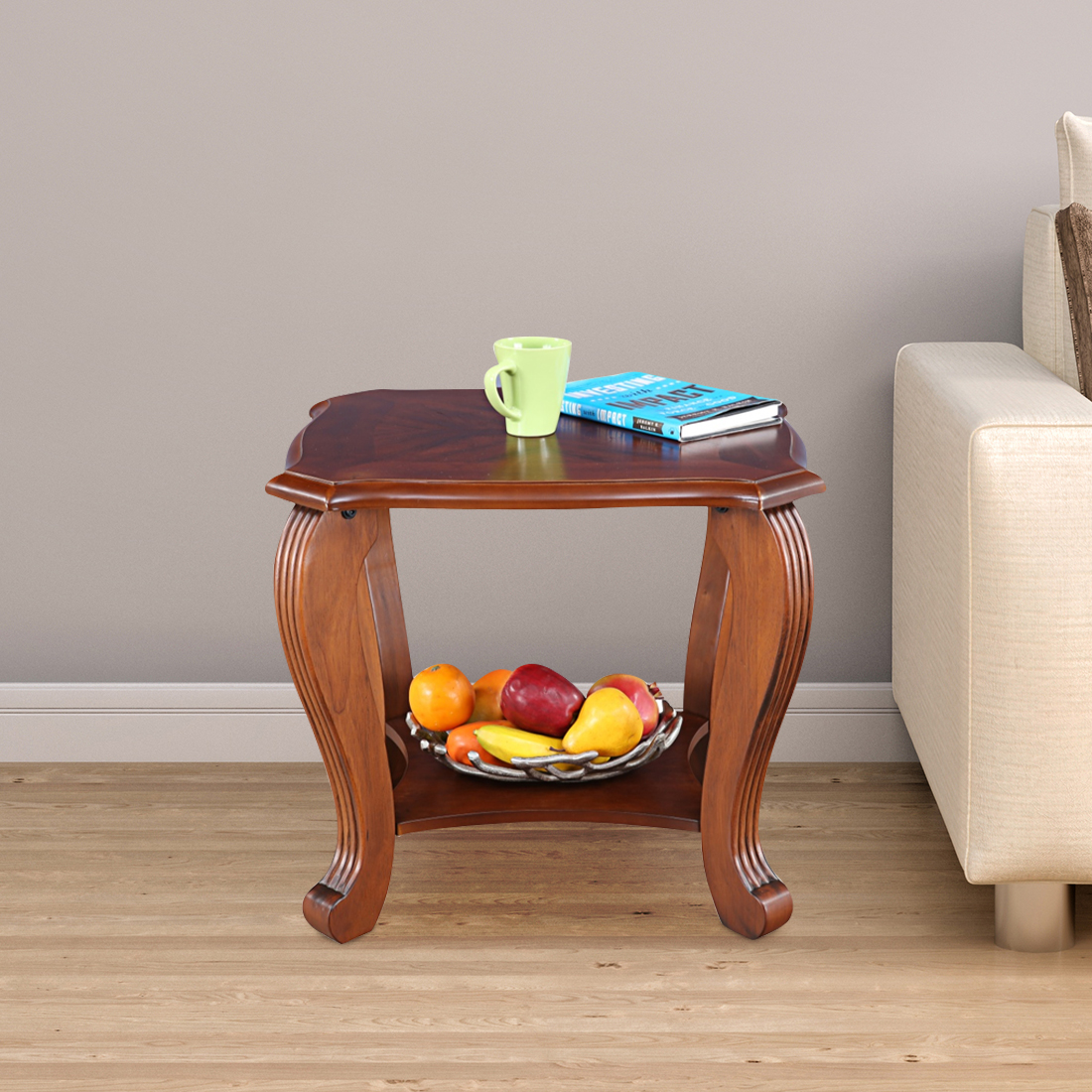 Liana Solid Wood Side Table in Brown Colour by HomeTown