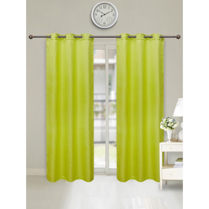 Fiesta Set of 2 Polyester Door Curtains in Citron Colour by Living Essence