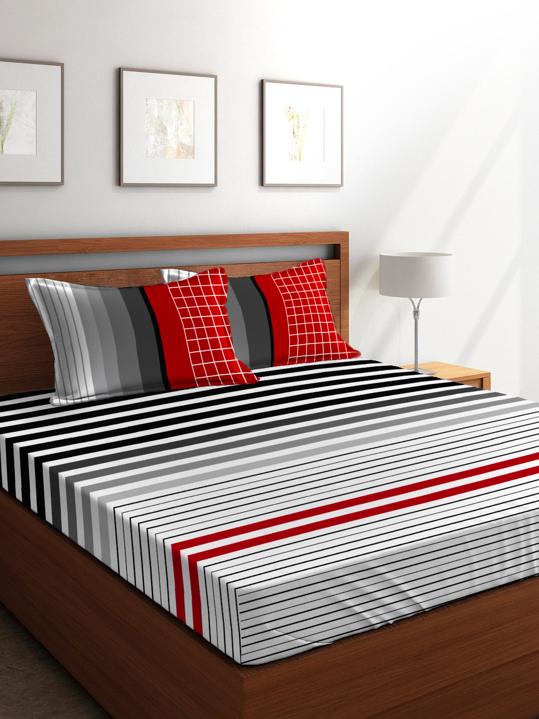 Buy Rio Cotton Double Bed Sheets In White Black Red Colour By
