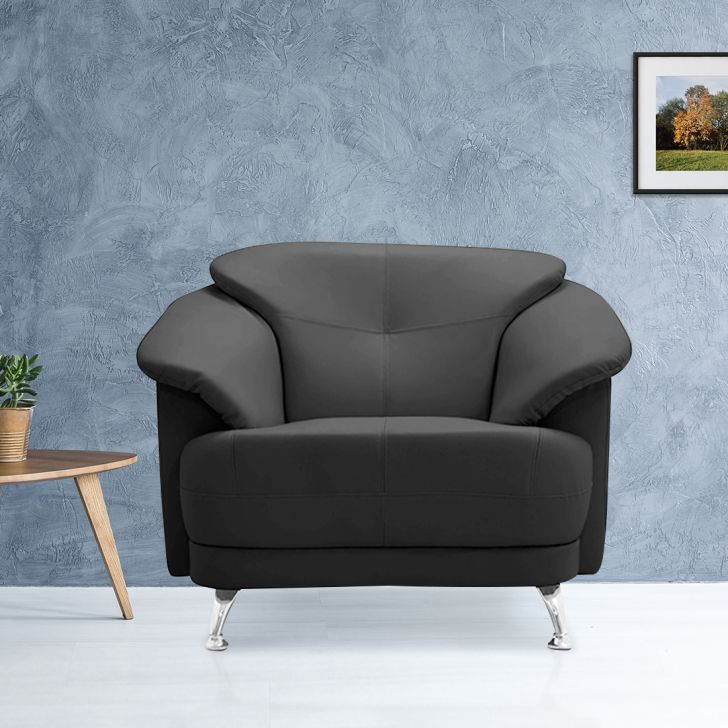 Corinth Leatherette Single Seater Sofa in Black Colour by HomeTown