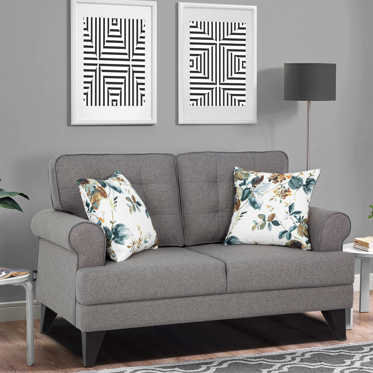 Miller Fabric Two Seater Sofa in Grey Colour by HomeTown
