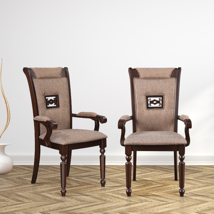 Callisto Solid Wood Dining Chair Set of Two in Brown Colour by HomeTown