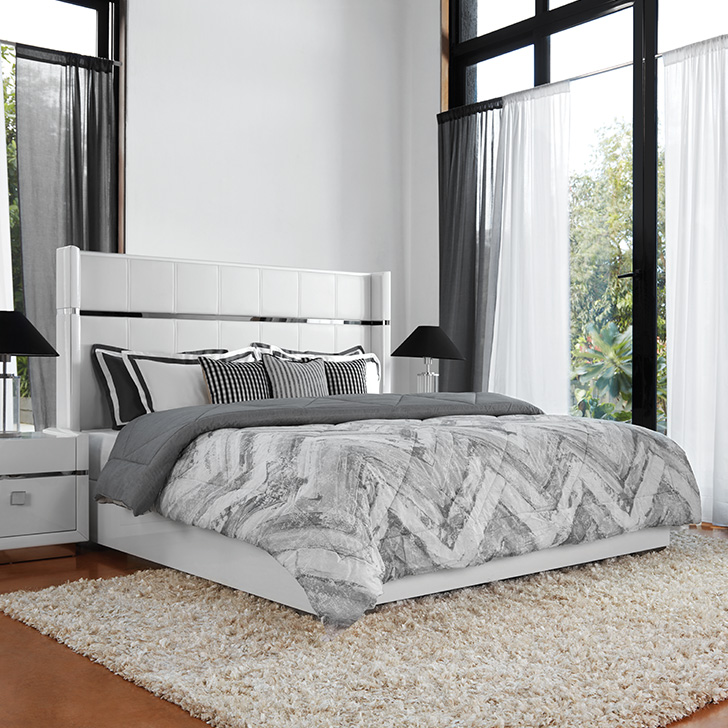Diana Engineered Wood Hydraulic Storage Queen Size Bed in High Gloss White Colour by HomeTown