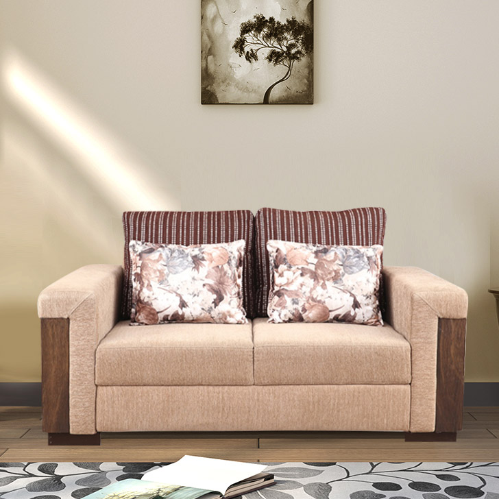 Amazon Fabric Two Seater Sofa in Brown Colour by HomeTown