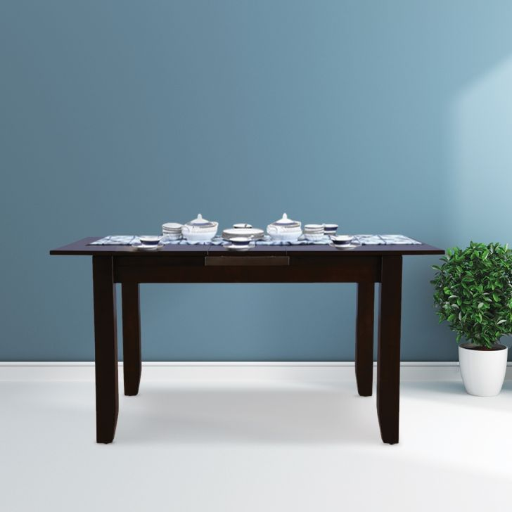 Flexi Solid Wood Four Seater To Six Seater Extension Dining Table in Cappuccino Colour by HomeTown