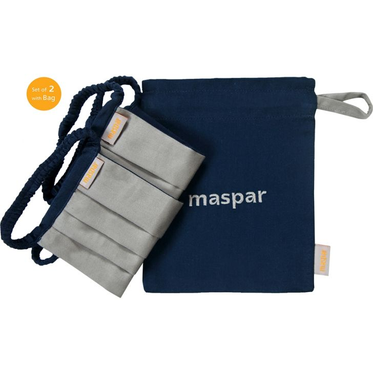 Maspar 3 Layer Grey Outdoor Cotton Face Masks Set of 2 with Bag