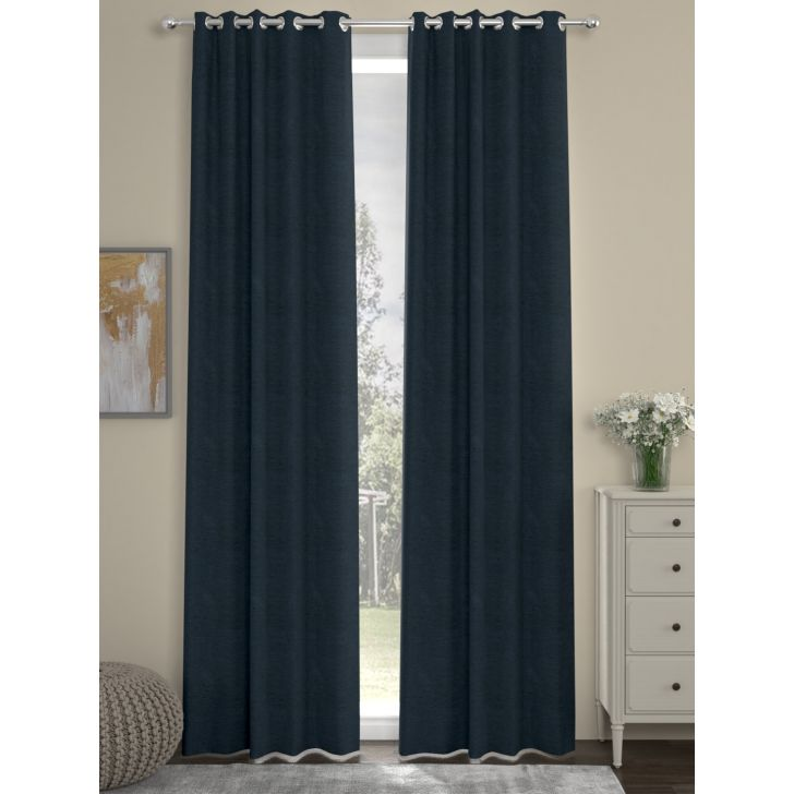 Mateo Door Curtain In Dark Blue Color By Rosara Home