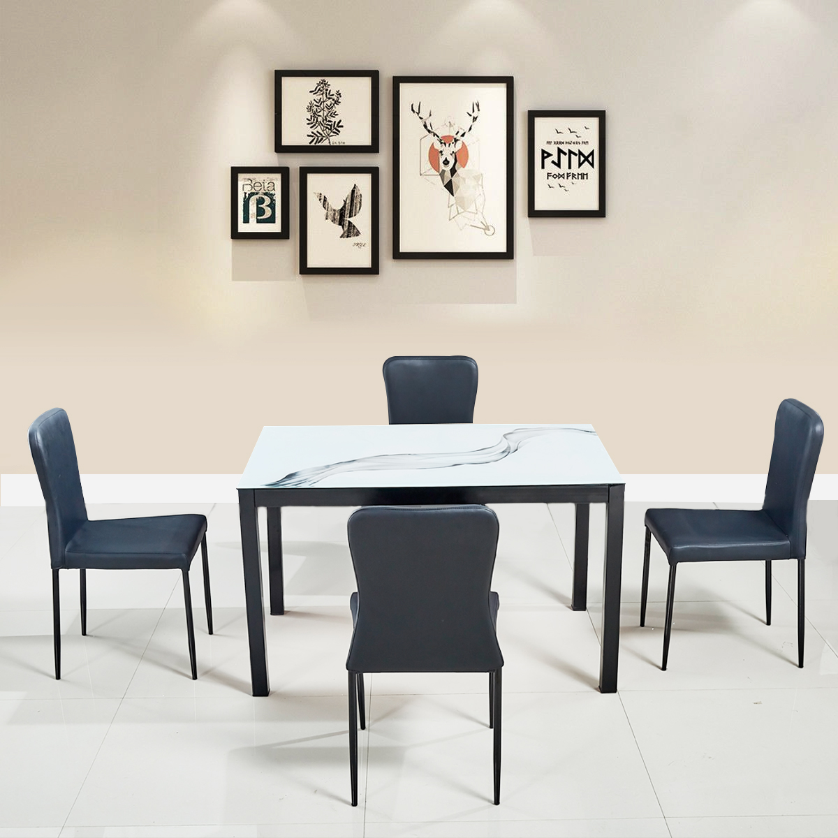 Modric Mild Steel Four Seater Dining Set in White Colour by HomeTown