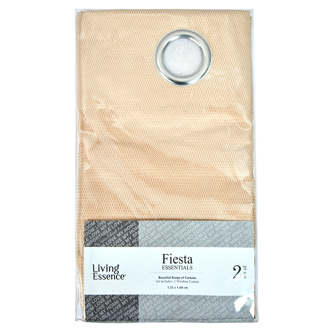 Fiesta Essential Polyester Window Curtains in Beige Colour by Living Essence