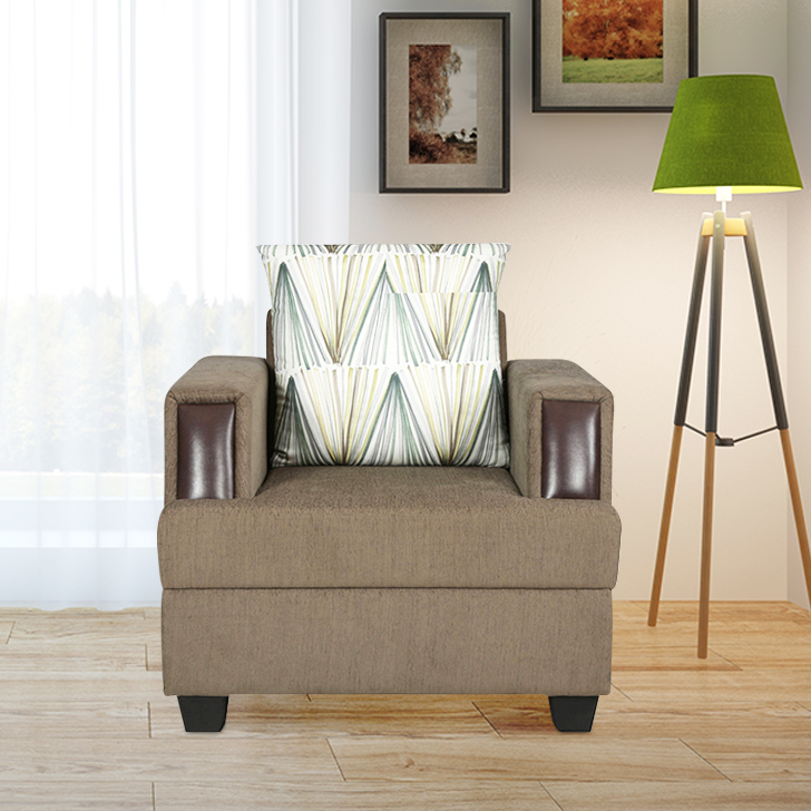 Elanza Fabric Single Seater Sofa in Teal Colour by HomeTown