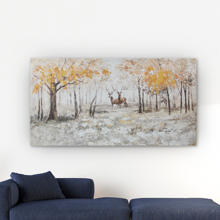 A Buck And A Doe In Autumn Grasslands Painting