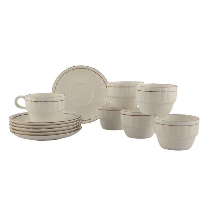 Ocean Gold Cup & Saucer Ceramic Cups & Saucers in White Colour by Living Essence