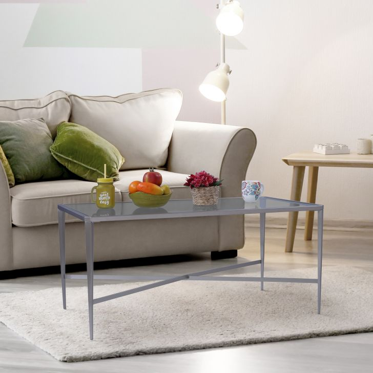 Venezia Glass Top Center Table in Brushed Steel Colour