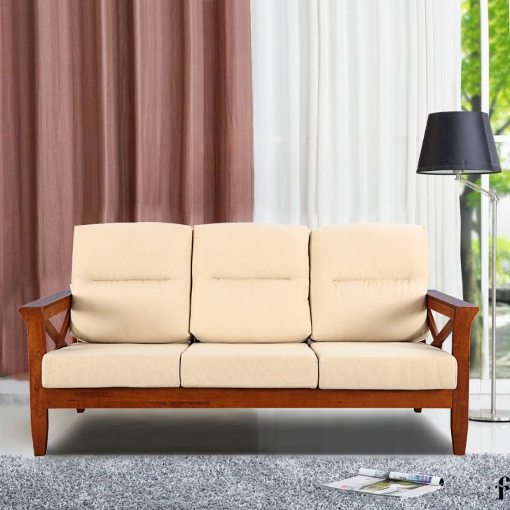 Aldrich Solid Wood Three Seater Sofa with Cushion in Beige Colour by HomeTown