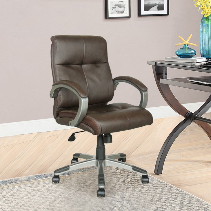 Hugo Fabric Office Chair in Solidwood Colour by HomeTown