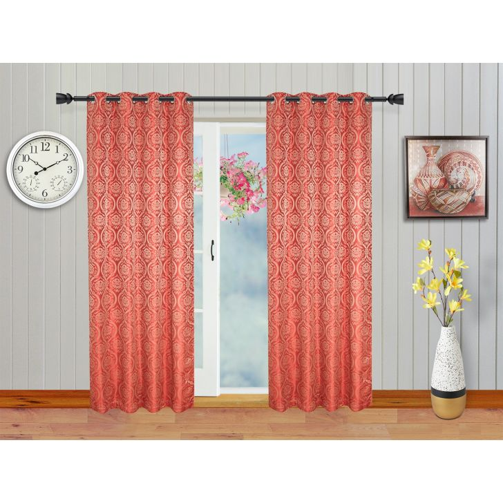Emilia Jacquard Set of 2 Polyester Door Curtains in Maroon Colour by Living Essence