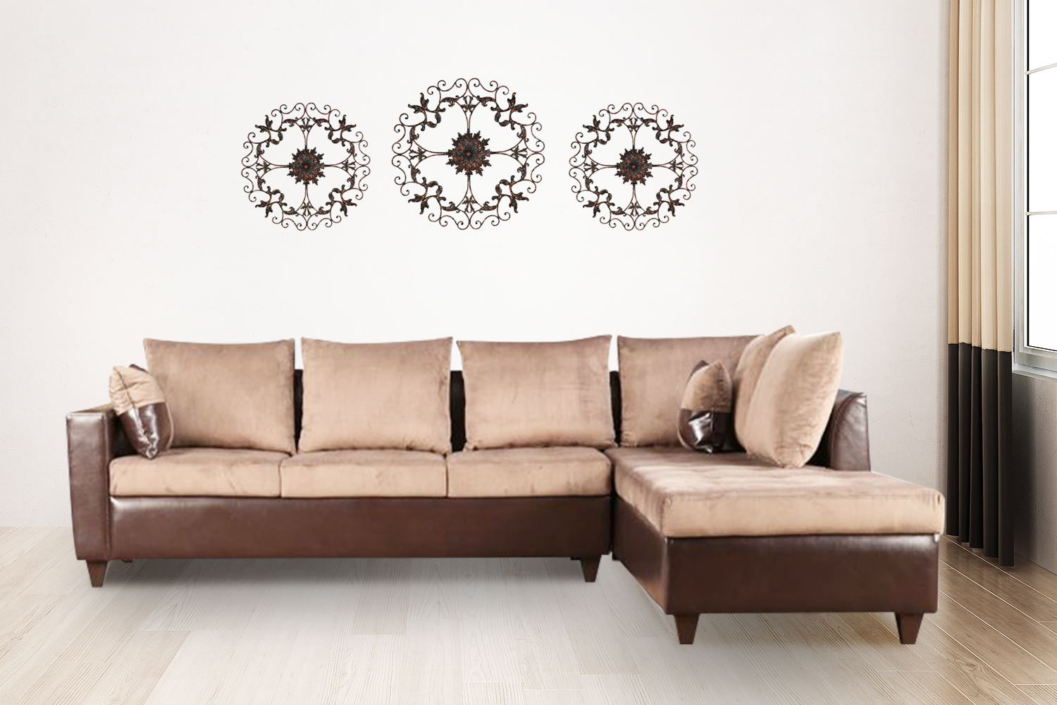 Jeremy Fabric & Leatherette Lounger in Brown Colour by HomeTown