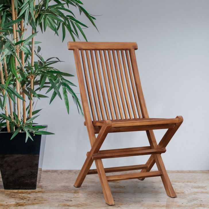 Dylan Solid Wood Folding Chair in Teak Colour by HomeTown
