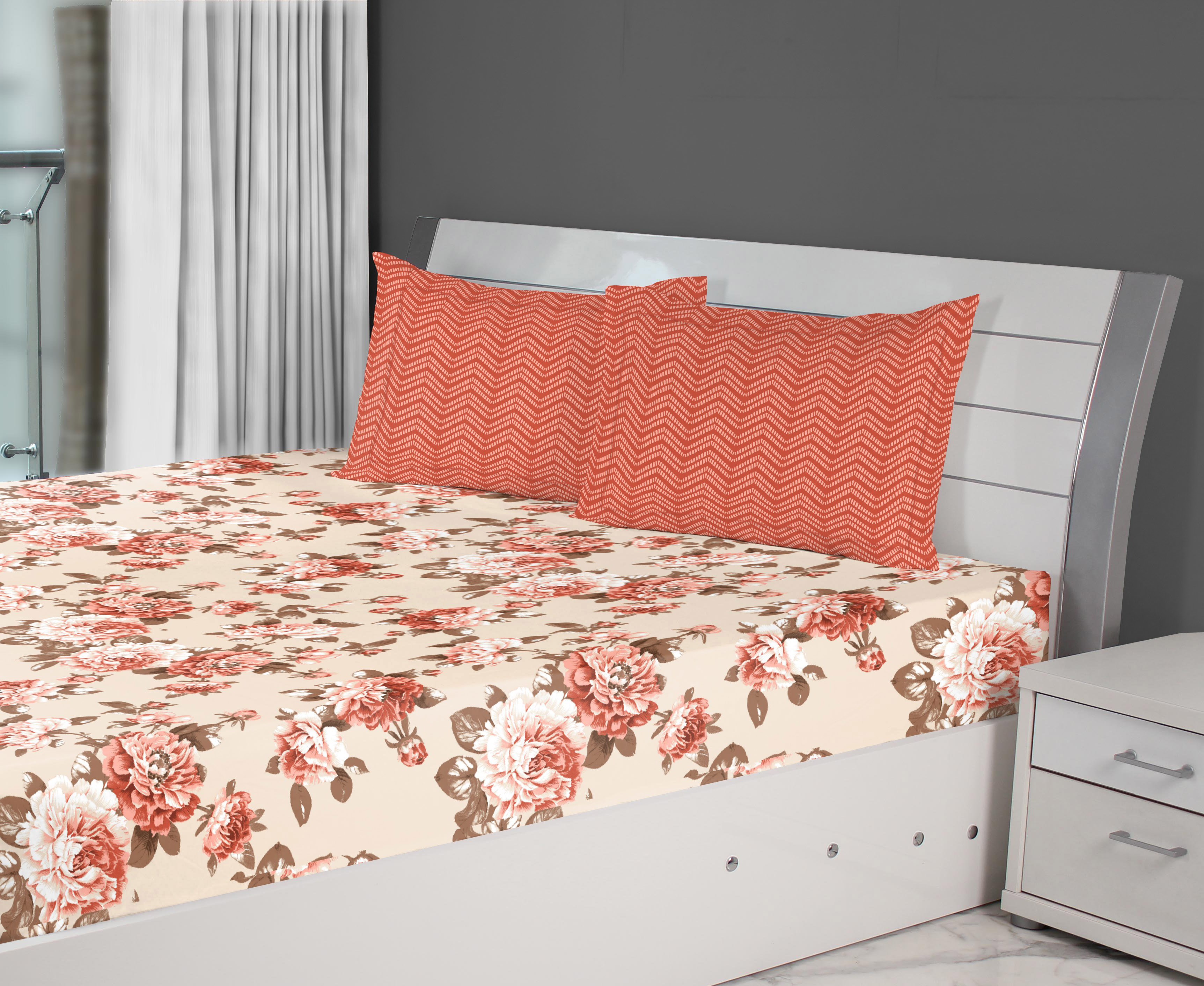 Fiesta Flora Cotton Double Bed Sheets in Red Colour by Living Essence
