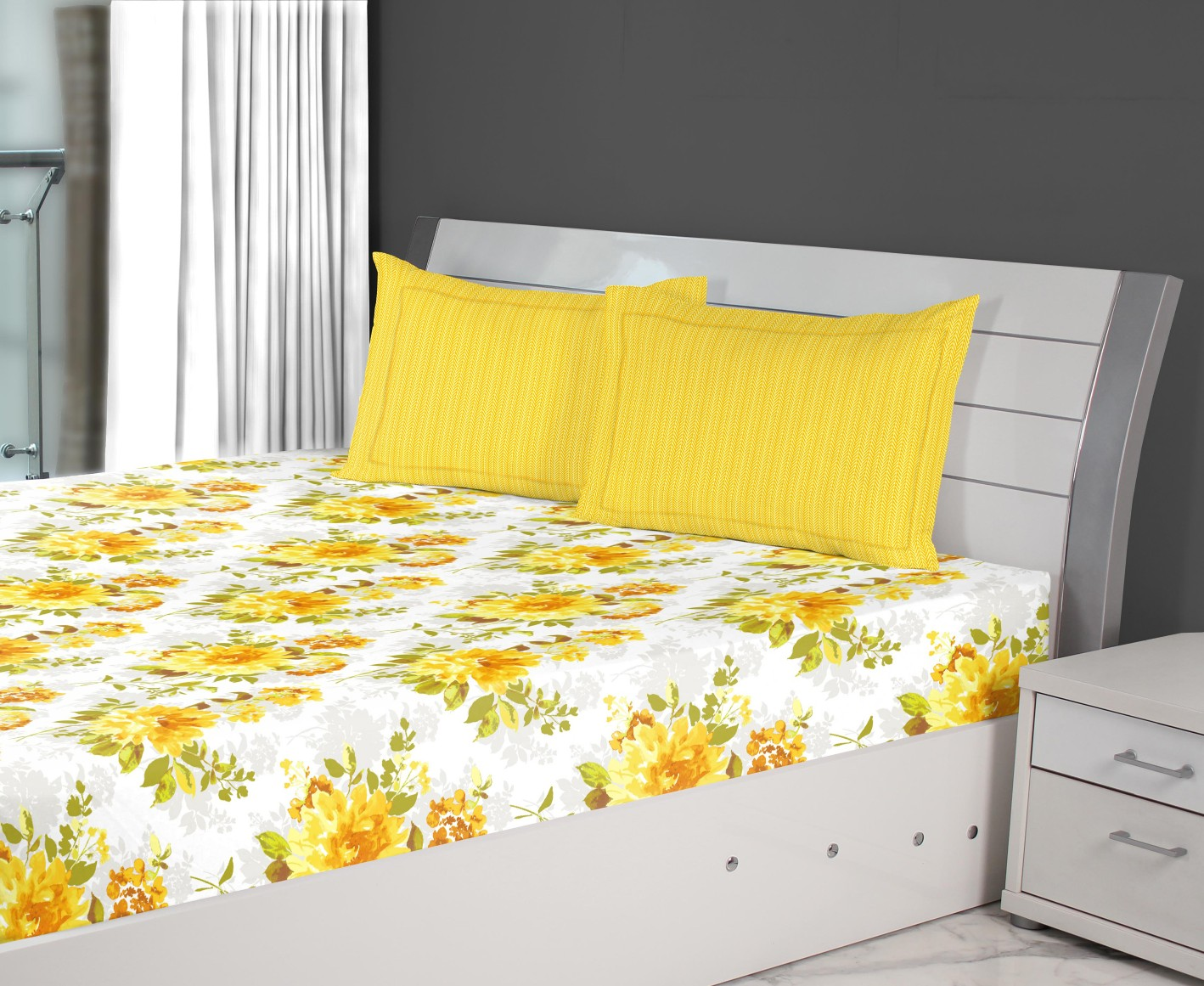 Nora Bloom Printed Cotton Double Bedsheets in Mustard Colour by Living Essence