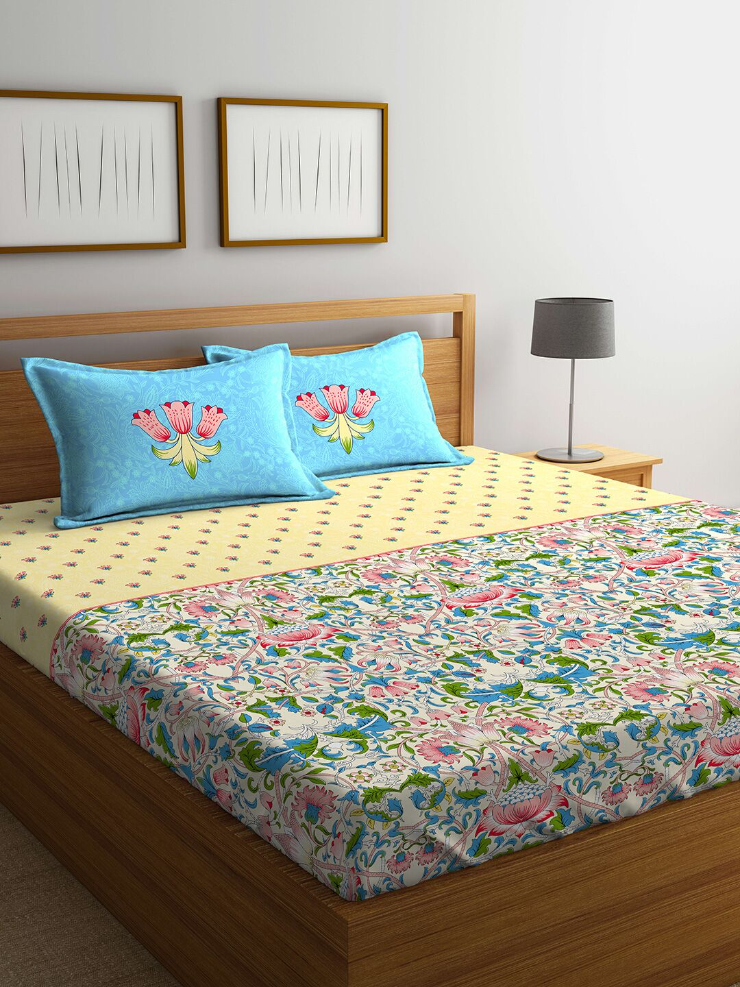 Eldora Cotton Mix Bed Sheets in Multicolour Colour by Portico
