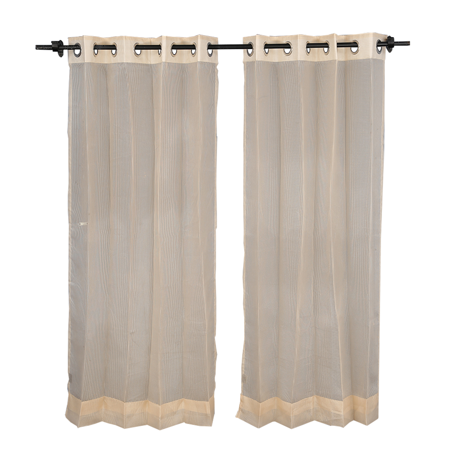 Sheer Extra large Curtain Gold Polyester Sheer Curtains in Gold Colour by Living Essence