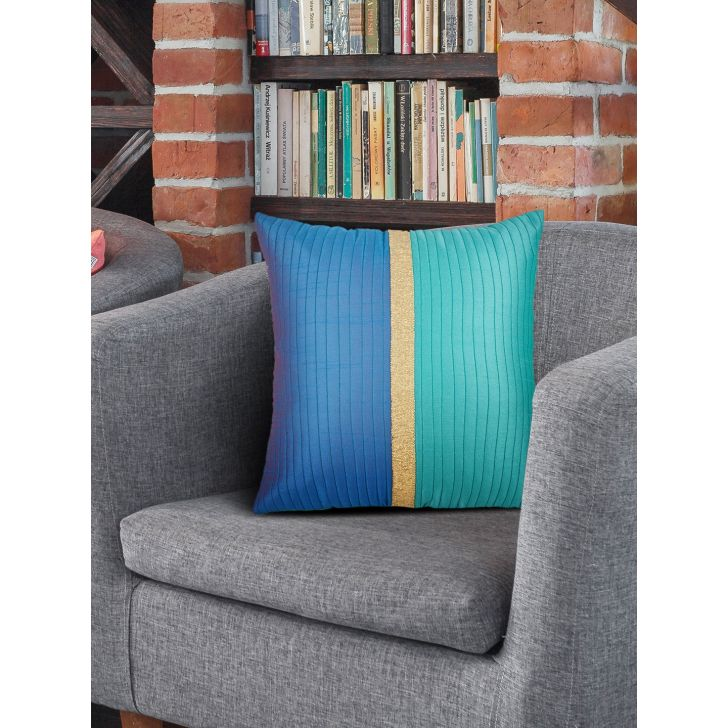 Tropical Safari Charles Polyester Cushion Covers in Teal Blue Colour by Living Essence